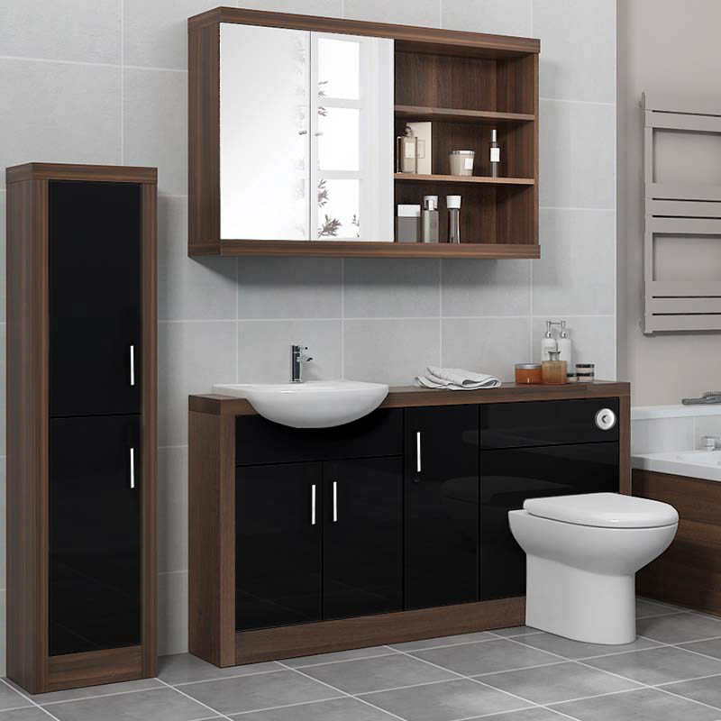 Lucido 1500 fitted bathroom furniture pack black buy for Small fitted bathrooms