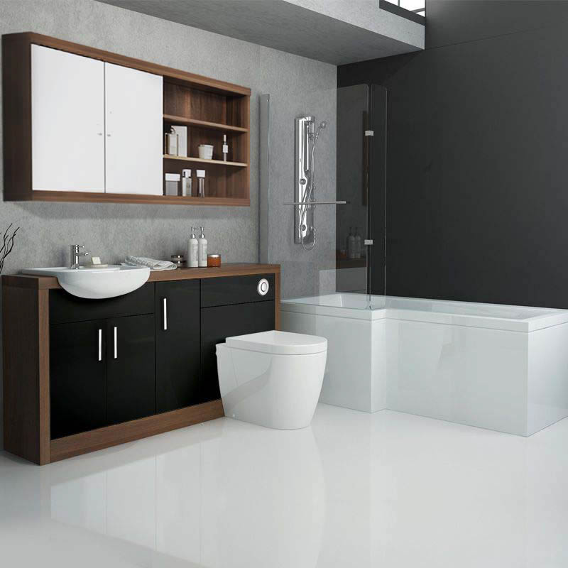 contemporary bathroom images lucido l shape 1500 furniture suite black buy at 12446