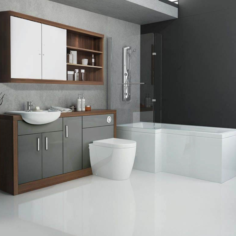 Lucido l shape 1500 furniture suite grey buy online at for Bathroom suite ideas