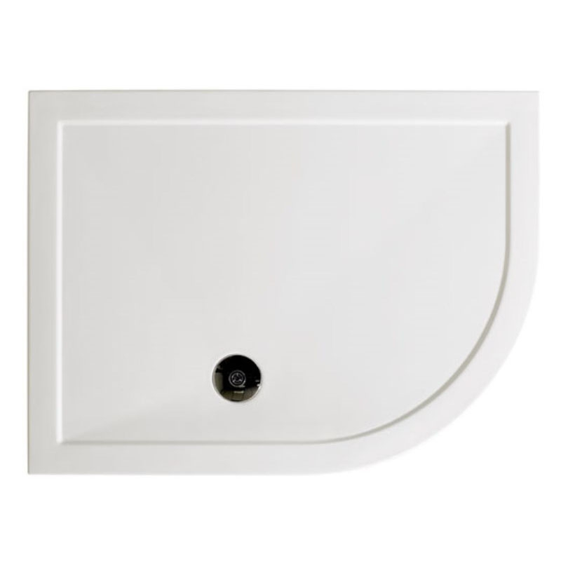 Offset Quadrant 900x760 Slimline RH Resin Shower Tray with 90mm Fast Flow Waste