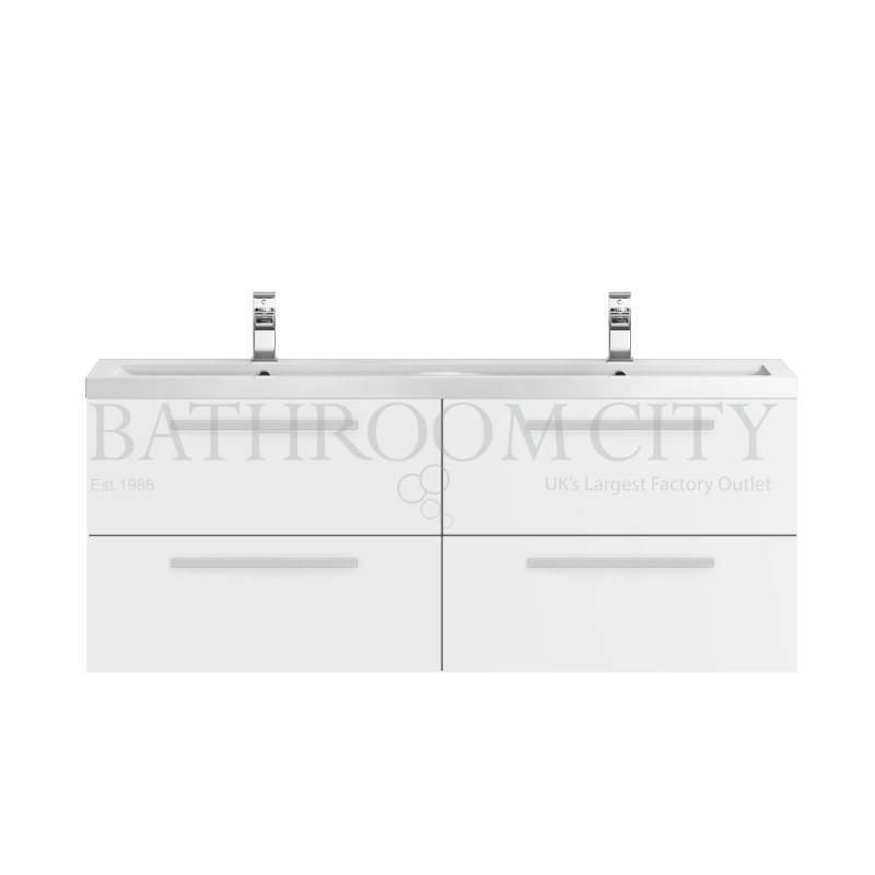 1440mm 4 Drawer WH Vanity and Basin white