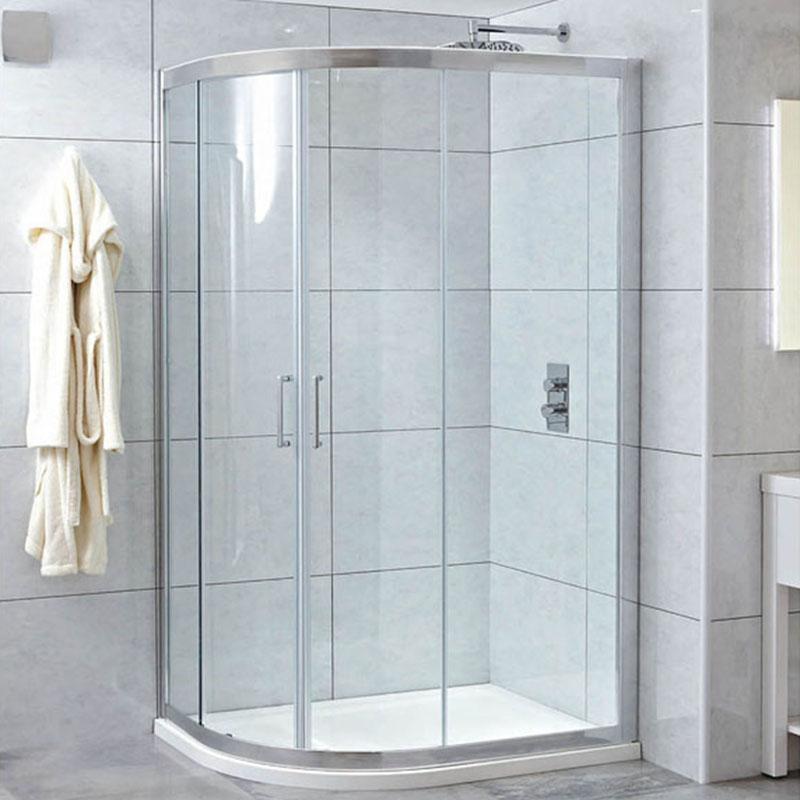 SPIRIT 8mm Framed Quad Door 100 x 80 Easy Clean Glass