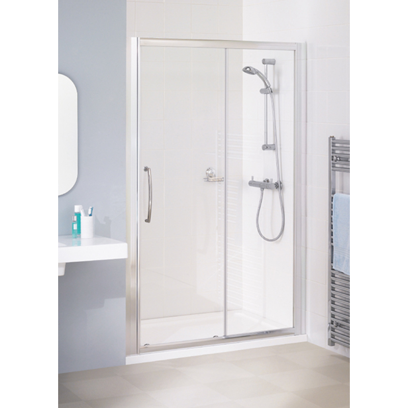 WHITE SEMI FRAMED SLIDER DOOR 1100 x 1850 & 700 SIDE PANEL