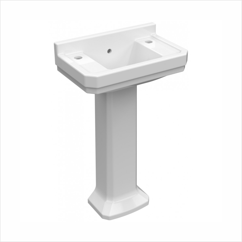 Wyndham 515mm cloakroom basin 2 tap hole with full pedestal