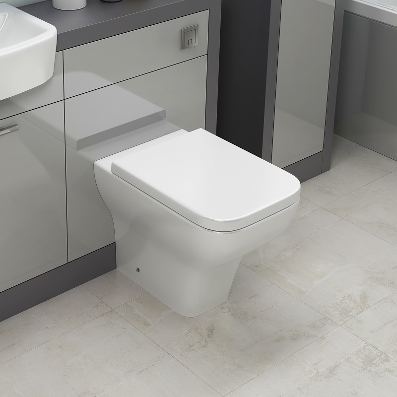 BTW Back To Wall Toilet Pan WC Curved Top Mounted Soft Close Seat Dual Cistern