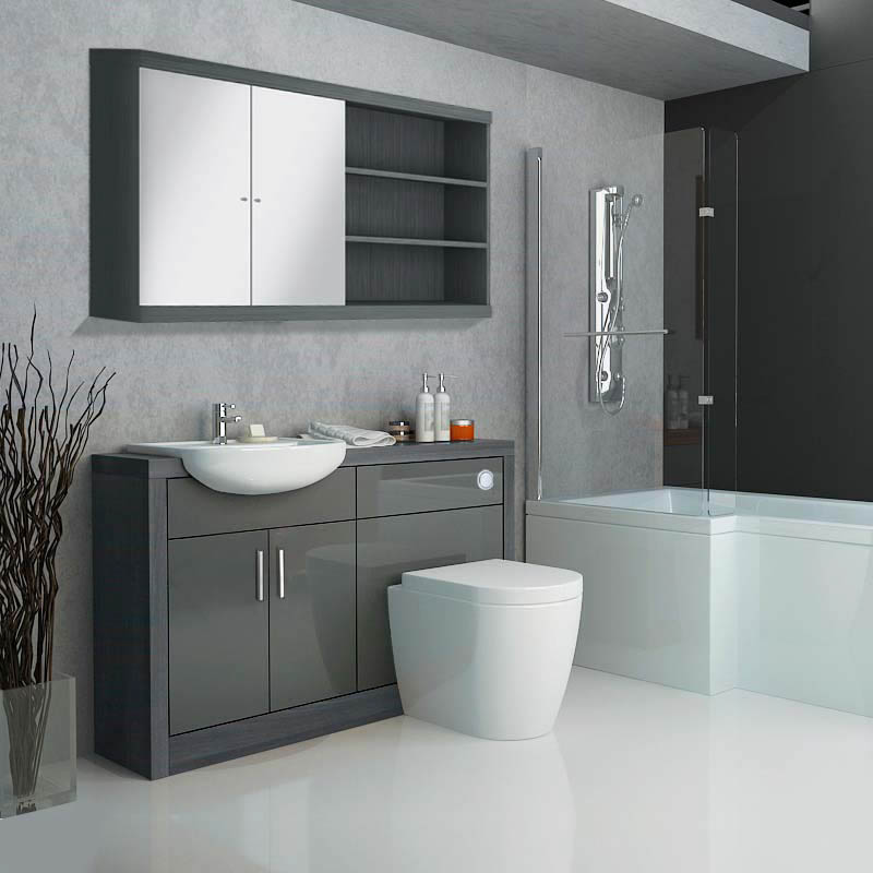 Charmant Hacienda Fitted Bathroom Furniture Pack Grey Contemporary ...