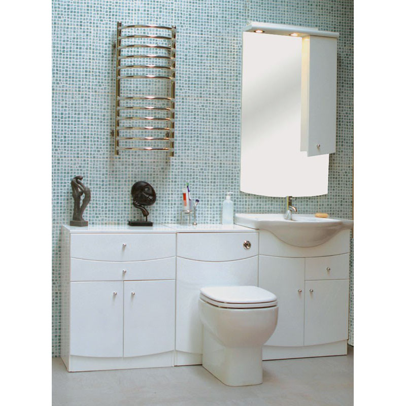 Buy Jupe Curved Camerino Mirror Cabinet With Lights White