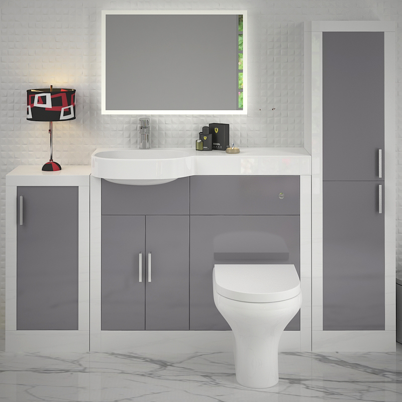 Grey Bathroom Furniture Uk: Apollo Bathroom Fitted Furniture Set (Light Grey