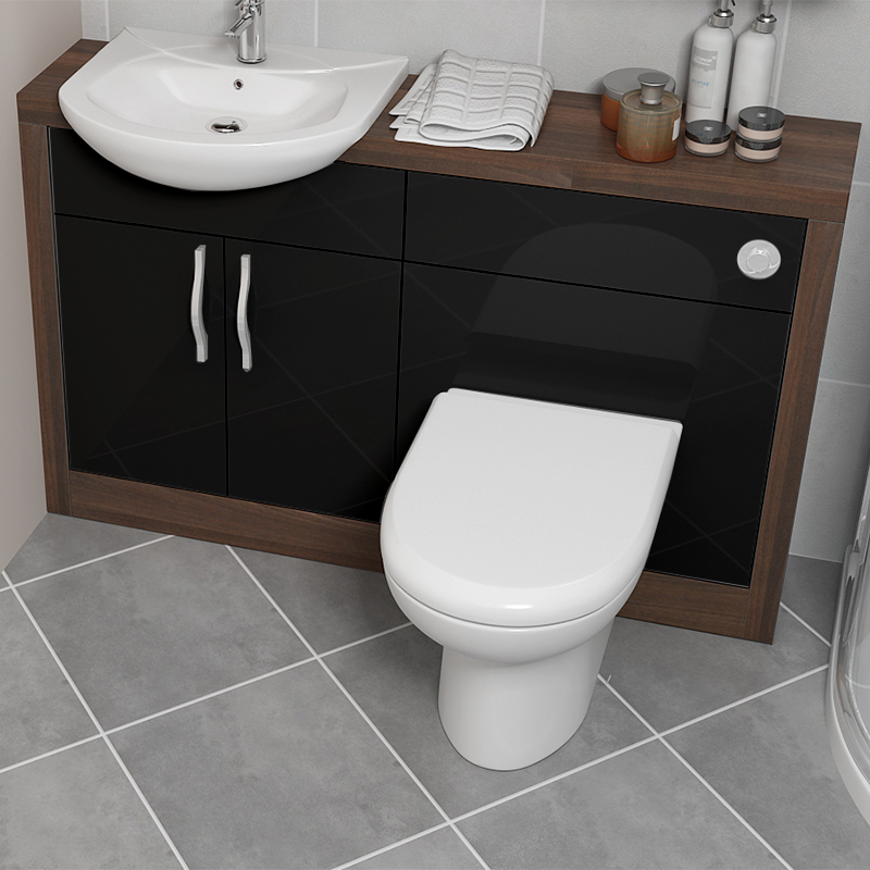 Bathroom City : Lucido 1200 Vanity Unit Black Bathroom City