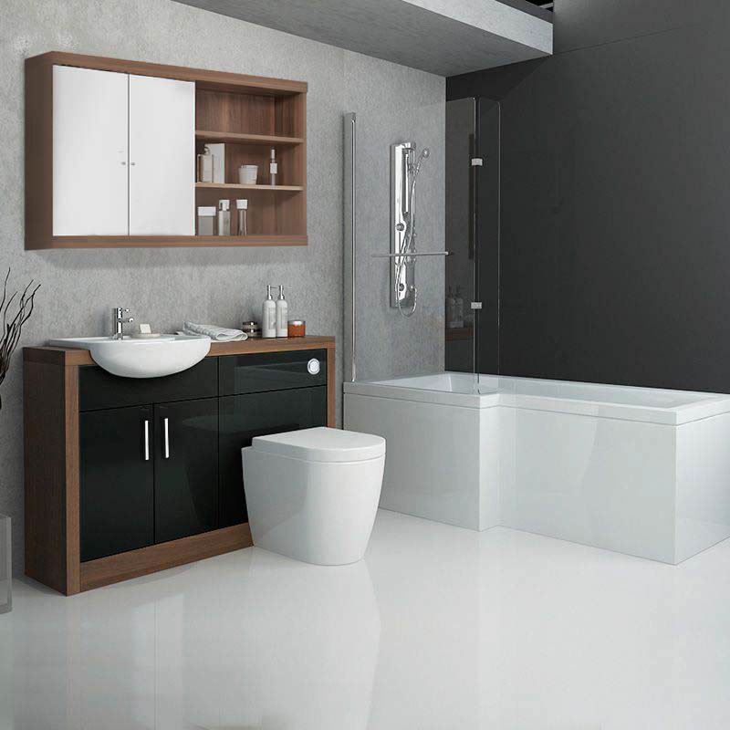 Lucido L Shaped Shower Bath Suite Black Buy Online At