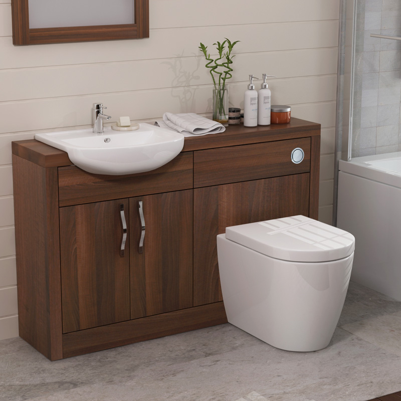 Lucido 1200 vanity unit walnut bathroom city for Bathroom bathroom bathroom