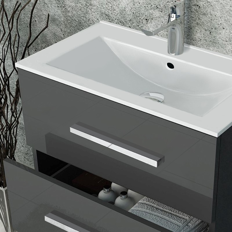 Sonix Grey Wall Hung 610 Unit 2 Drawers Ceramic Basin 1
