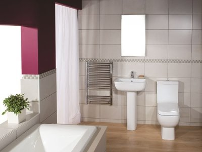 series 600 close coupled toilet basin and pedestal with mirror and a shower curtain