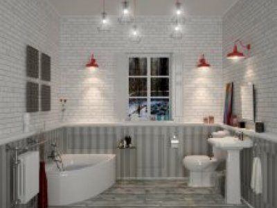 periodic style bathroom suite with corner bath and a traditional toilet and basin and pedestal, the setting includes a corner bath and stylish hanging lights from the ceiling
