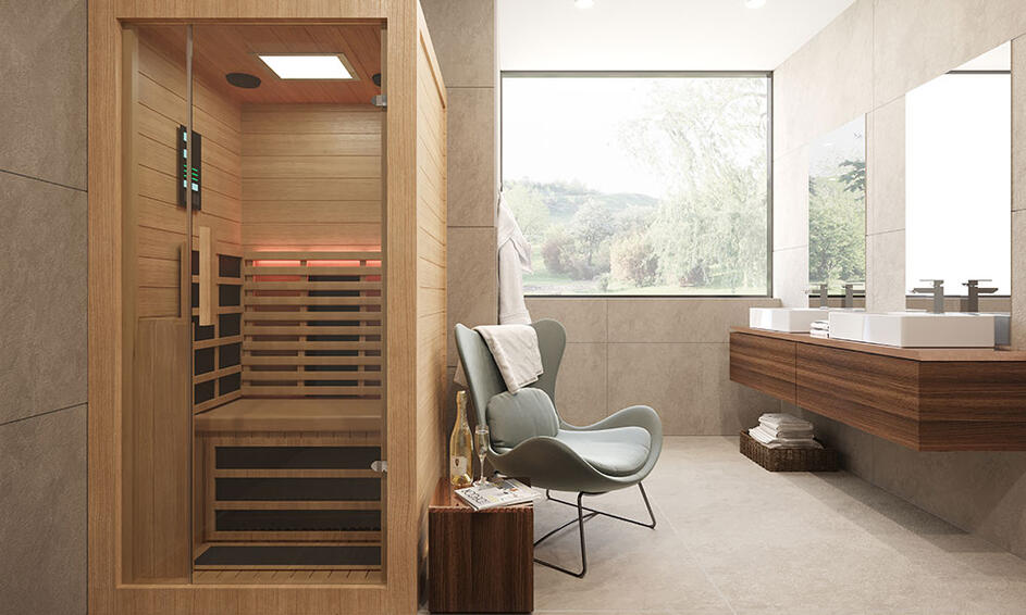 An image of a Bathroom with a Sauna Installed in it