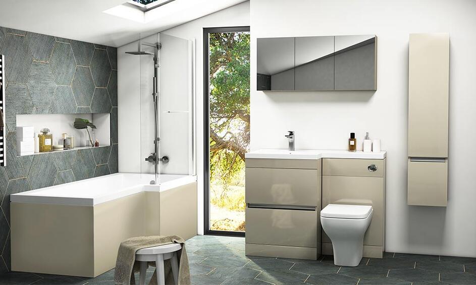 Pemberton L-Shaped Gold Bathroom Suite