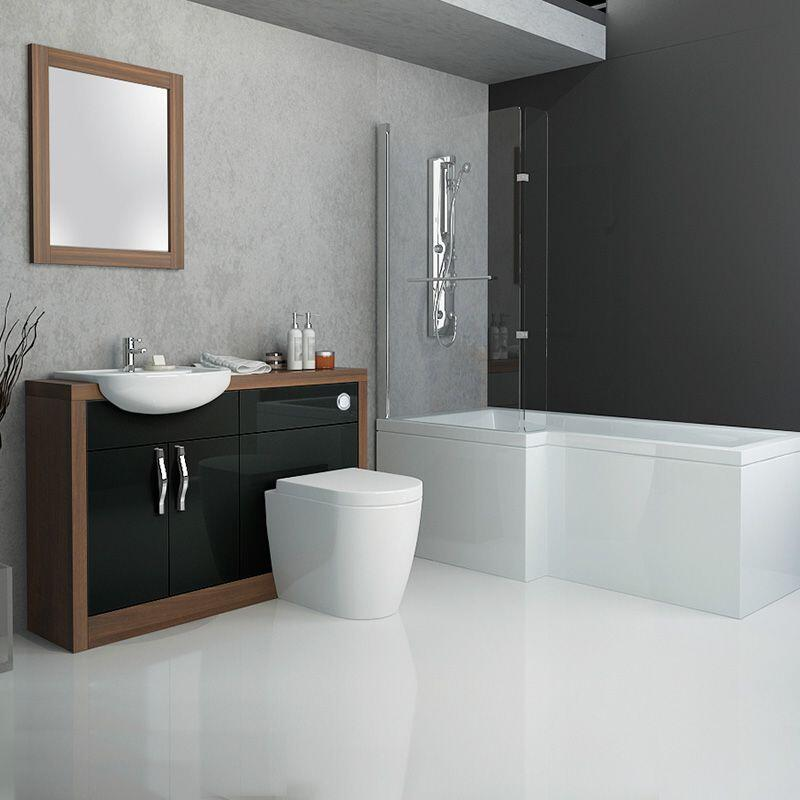 lucido 1200 bathroom cabinet with l shape bath and screen
