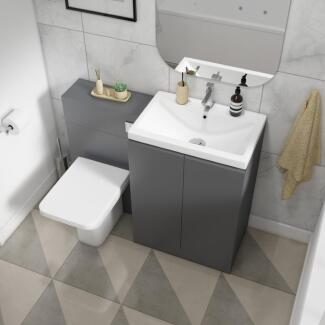 Angled top view of a grey combination vanity with back to wall toilet with doors