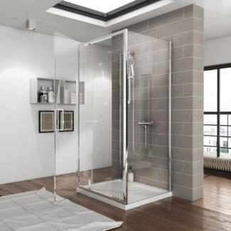 Room scene view of a radiant 3 sided shower enclosure with tray and pivot door