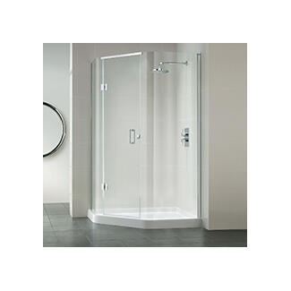 pentagon shaped 3 sided corner shower enclosure