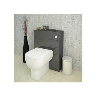 Luxury grey back to wall toilet cabinet with concealed cistern