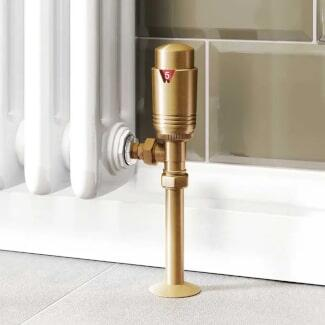 Lifestyle Close up Image of Brass Radiator Valve with Thermostat