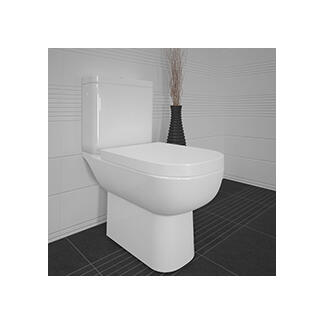 white standard toilet close coupled sitting against the wall