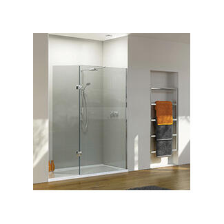 Shower cubicles with hinged door opening
