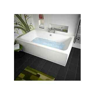 large white square soubkle ended bath and panels