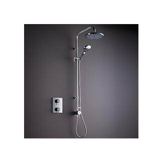 complete shower head value and riser rail kit on the wall in chrome