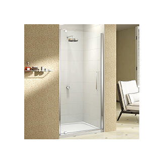 shower door opens out of enclosure