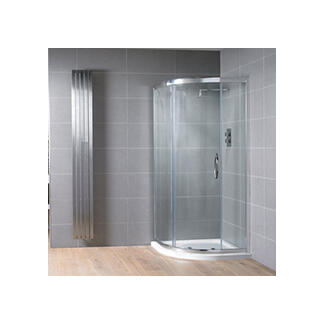 Curved quadrant glass shower enclosure chrome colour