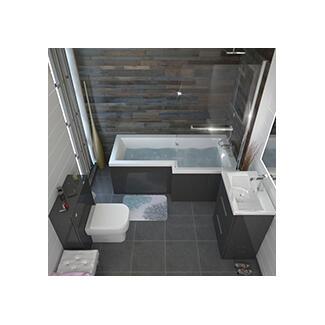 shower bath L shape grey complete bathroom suite