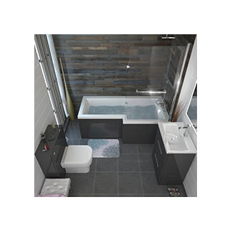 shower bath L shape grey complete bathroom suite