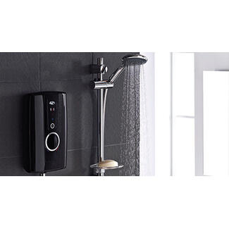 Electric shower with black front and chrome adjustable shower head on the wall