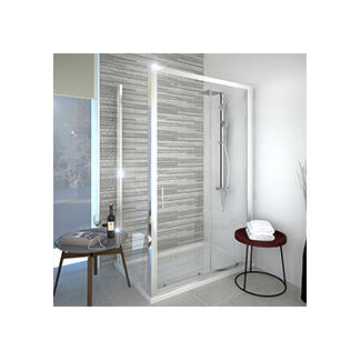 Square bathroom shower cubicle with sliding doors