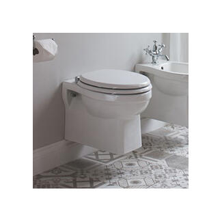 White Wall Mounted Toilet With Soft Close Seat