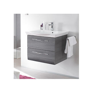 wall hung bathroom wash basin and cabinets white black and wooden