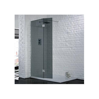Walking Wet Room with no door Black smoked glass