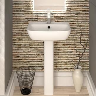 White Bathroom Sink And Pedestal