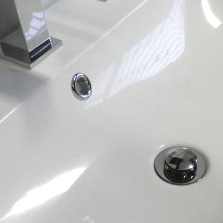 Chrome basin waste in a sink