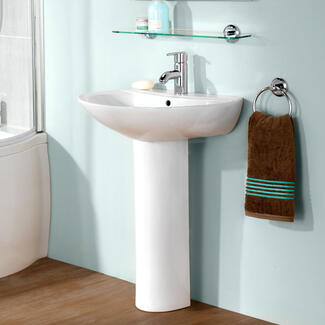 bathroom sink basin and full pedestal to hide plumbing
