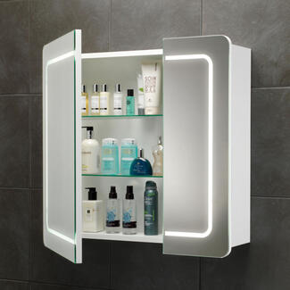Bathroom square mirror cabinet with lights and storage shelves