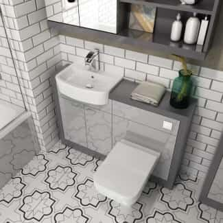 Shows Grove 1500 Combination Vanity and BTW Toilet in Platinum Grey
