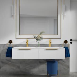 Shows the Jivana 1200 White Double Vanity Unit with Countertop Basins and Gold Taps