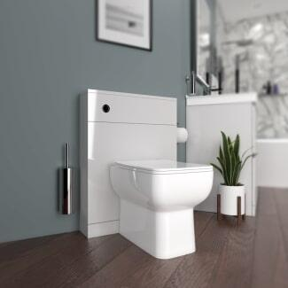 Greay bathroom back to wall toilet cabinet and white toilet