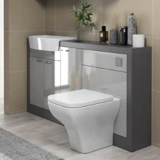 White Back To Wall Toilet With Cabinet