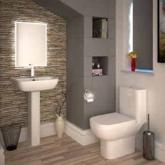 white basin and pedestal basin with toilet