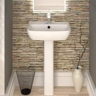 White Bathroom Sink And Pedestal