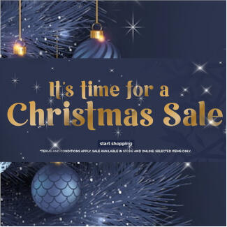 It's time for a Christmas Sale, dark blue background with christmas ornaments